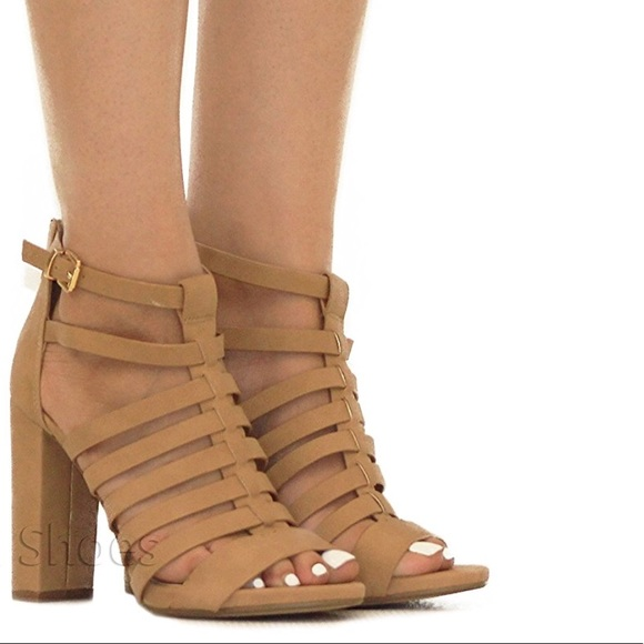 7494f070d1 Boutique Shoes | Tan Peep Toe Strappy Chunky Heeled Sandals | Poshmark